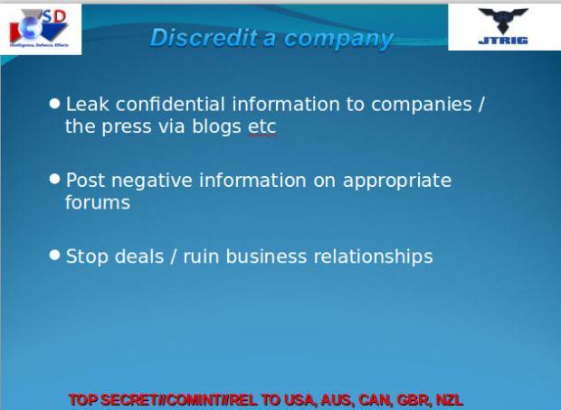 GCHQ Discredit A Company