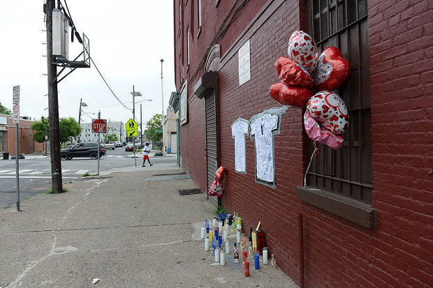 A Jersey City memorial placed by the community for Lawrence Campbell